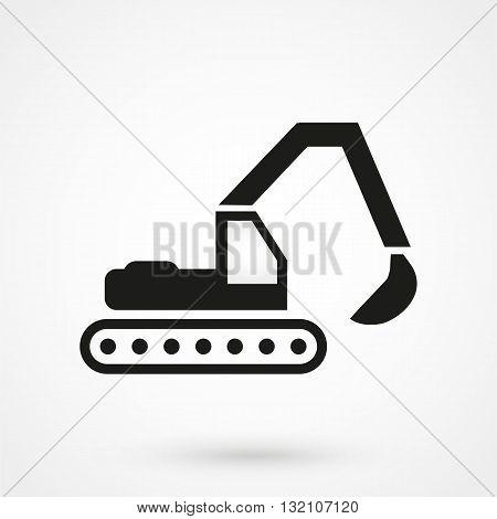 Excavator Icon Vector Black On White Background