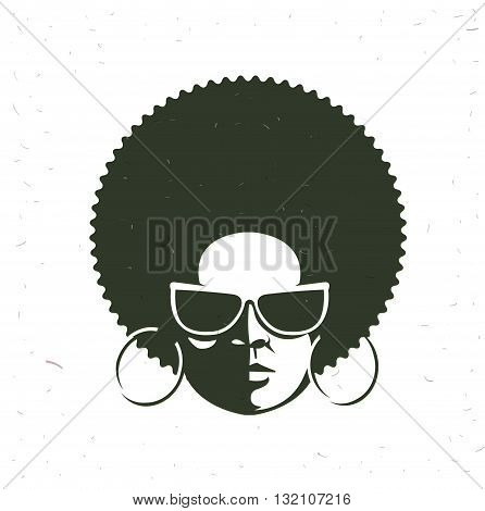 Front view portrait of a black woman face with sunglasses. Vintage afro hairstyle. Vector illustration. Flat design style
