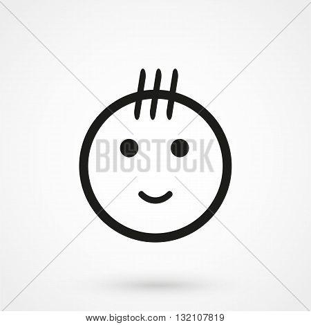 Kid Icon Vector Black On White Background
