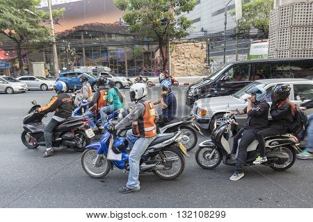 BANGKOK THAILAND - APR 29 : mortorbike stop on red light signal on Sukhumvit 31 road near Sawatdi Junction on april 29 2016 thailand. traffic jam is one of worse issue of Bangkok