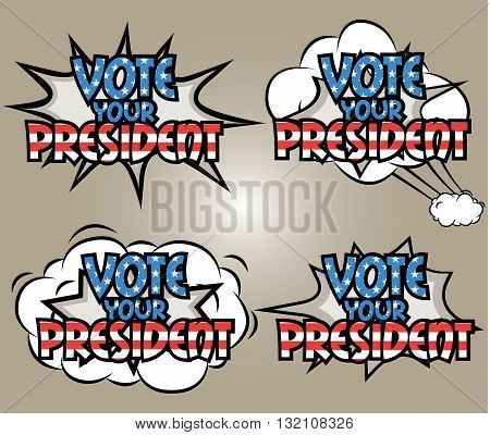 Vote your president, USA election, funny inscription template