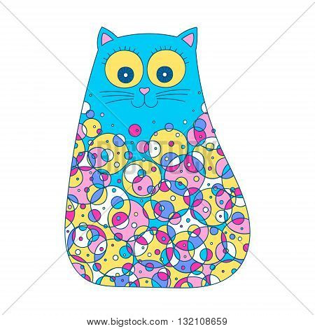 Doodle cat with dots. Vector hand drawn cute cat with doodle ornament. Isolated. Fun design for kids. Bright colors - blue yellow pink violet and white.