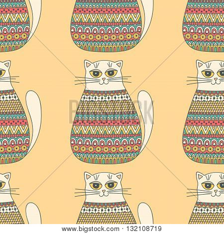 Pattern with cats. Hand drawn seamless pattern with cute colorful cats. Pastel colors. Retro style. Vector background for kids.