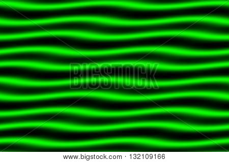 Illustration of black and neon green horizontal waves