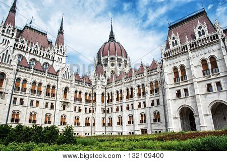 Hungarian parliament building - Orszaghaz also known as the Parliament of Budapest Hungary. House of the nation. Cultural heritage. Travel destination. Architectural theme. Lajos Kossuth square.