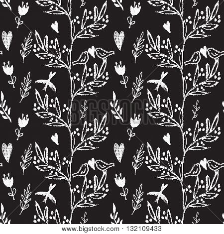 White on black hand drawn seamless pattern with weed, flowers and birds.