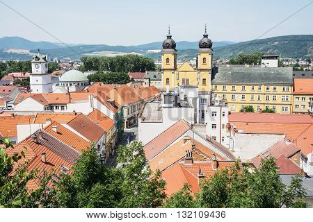 Trencin city with piarist church of saint Francis Xaversky Slovak republic. Urban scene. Architectural theme. Religious architecture.