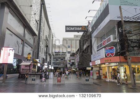 BANGKOK THAILAND - APR 30 : scene of siam aquare soi 5 in Siam Square on april 30 2016 thailand. siam square is famous shopping place of Bangkok