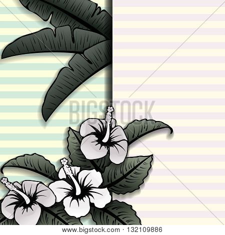 Vintage black-and-white tropical design on with a blue, yellow, and pink striped background.
