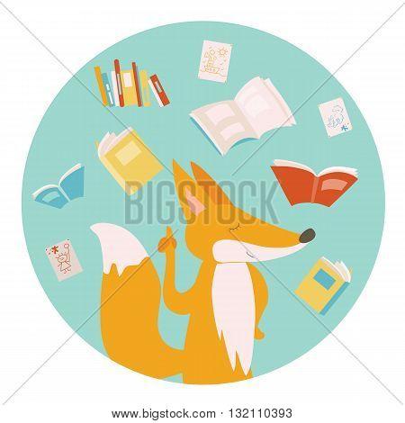 Cartoon fox with color books. Vector illustration