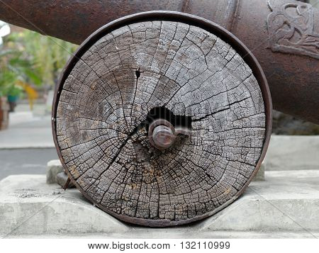 wheel of the old cannon from 19th century