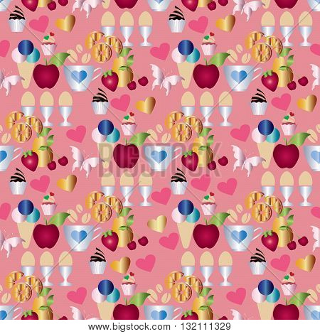 Sweet seamless pattern. On the pink background are colored apple, cherry, strawberry, lemon, cap with coffee, boiled eggs, cake, ice cream, hearts and butterfly. Can be repeated and scaled to any size without   loss of resolution.