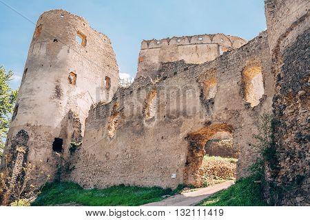 Main Gate in Lietava Castle Slovakia .