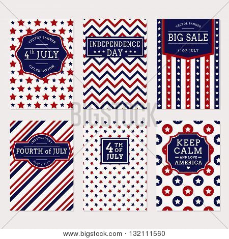 Happy Independence Day! Set of American banners for 4th of July theme. Collection of templates in traditional red blue and white colors. Vector greeting cards sale label and holiday banners.