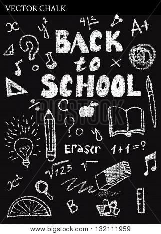 Hand Drawn Chalk Back To School Doodles