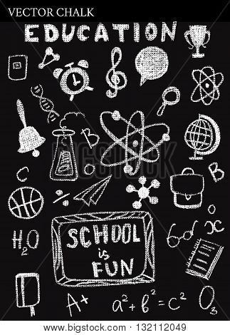Hand Drawn Chalk Back To School Doodles.
