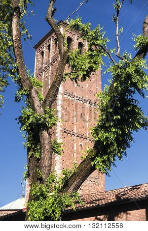 Milan (Lombardy Italy): the medieval church of Sant'Ambrogio in Romanesque style. Belfry.