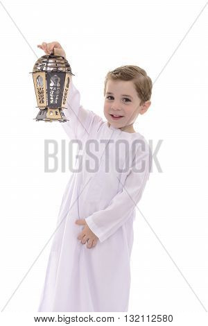 Happy Young Muslim Boy With Wooden Lantern