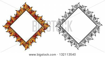 Black white and colorful squared frames with spurts of flame. Vector illustration.