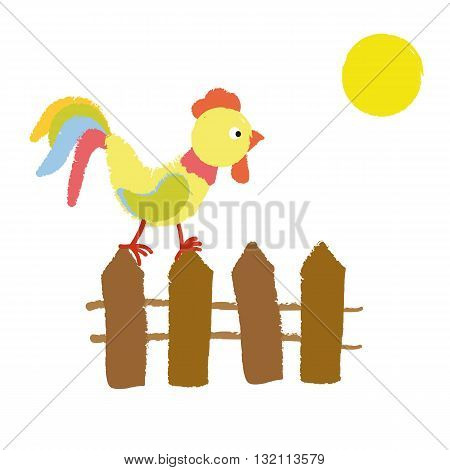 Image of funny cartoon of a Cockerel which stands on the fence. Over the shining yellow sun. Vector illustration.