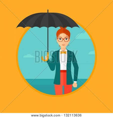 A businesswoman standing with open umbrella on the background of blue sky. A woman under open umbrella. Happy woman with umbrella. Vector flat design illustration in the circle isolated on background.