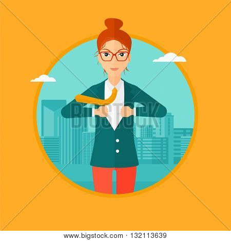 A business woman opening her jacket like superhero on the background of modern city. Business woman superhero. Vector flat design illustration in the circle isolated on background.
