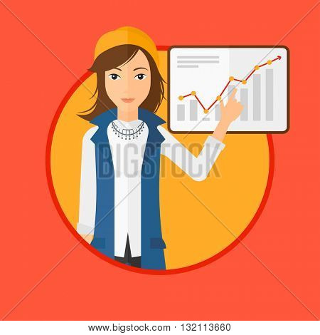 A business woman pointing at charts on a board during business presentation. Woman giving a business presentation. Business presentation in progress. Vector flat design illustration in the circle.