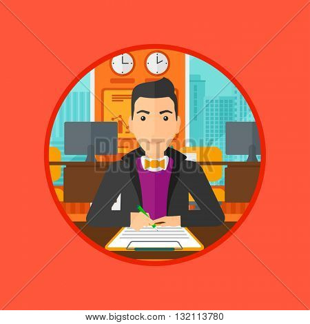 Businessman signing business documents in office. Man is about to sign a business agrement. Confirmation of transaction by signing of business contract. Vector flat design illustration in the circle.