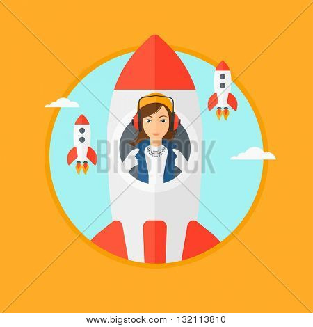 A business woman in headphones flying in the rocket. Successful business start up concept. Business rocket taking off. Vector flat design illustration in the circle isolated on background.
