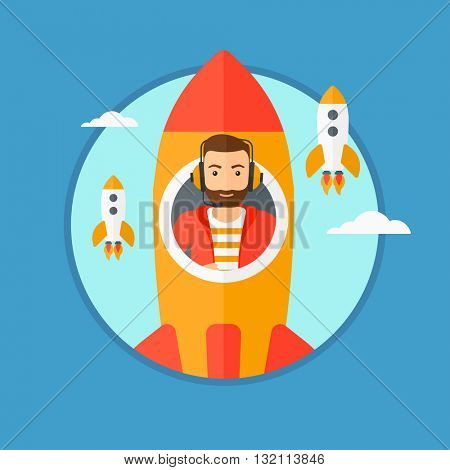 A hipster businessman in headphones flying in the rocket. Successful business start up concept. Business rocket taking off. Vector flat design illustration in the circle isolated on background.