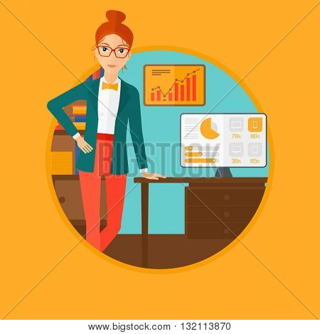 A business woman leaning on a table in the office during business presentation. Woman giving a business presentation. Business presentation in progress. Vector flat design illustration in the circle.