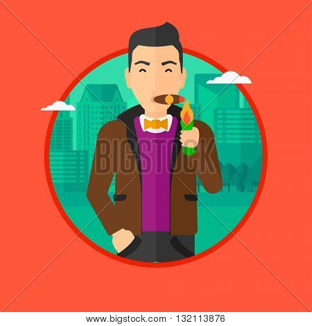 Rich businessman lighting a cigar with dollar bill. A successful businessman smoking a cigar on the background of modern city. Vector flat design illustration in the circle isolated on background.