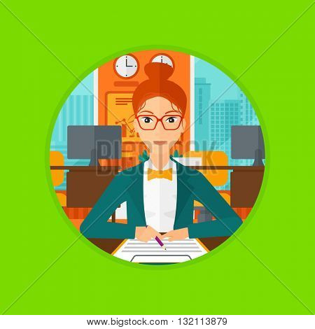 Woman signing business documents in office. Woman is about to sign a business agrement. Confirmation of transaction by signing of business contract. Vector flat design illustration in the circle.