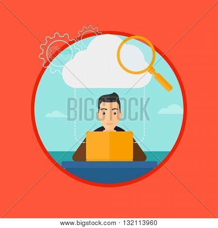 A businessman working on a laptop and cloud, magnifier and gears above him. Cloud computing concept. Vector flat design illustration in the circle isolated on background.