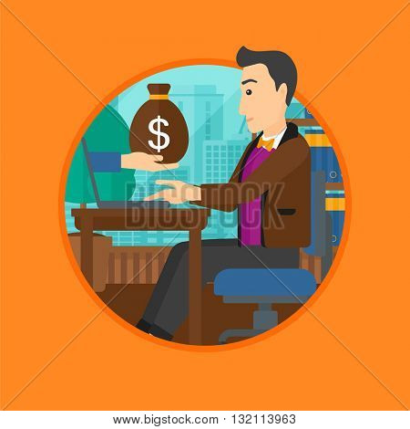 A businessman sitting at the table in office and a bag of money coming out of his laptop. Online business concept. Business vector flat design illustration in the circle isolated on background.
