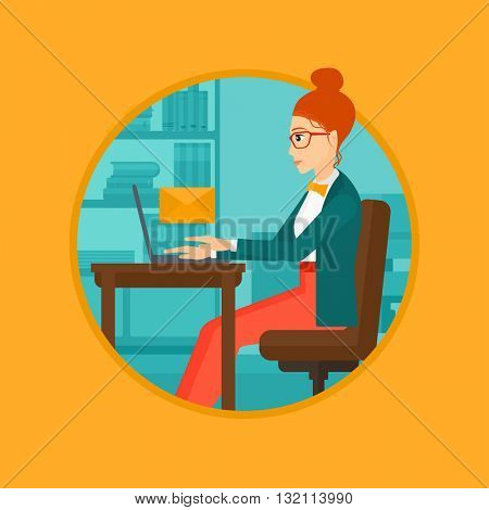 A business woman working on her laptop in office and receiving or sending email. Business technology, email concept. Business vector flat design illustration in the circle isolated on background.