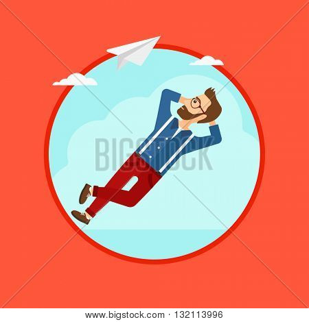 A hipster businessman with the beard lying on a cloud and looking at flying paper plane. Business man relaxing on a cloud. Vector flat design illustration in the circle isolated on background.