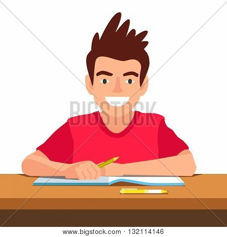Funny boy sitting at the desk in school. The concept of school education. Vector illustration on white background.