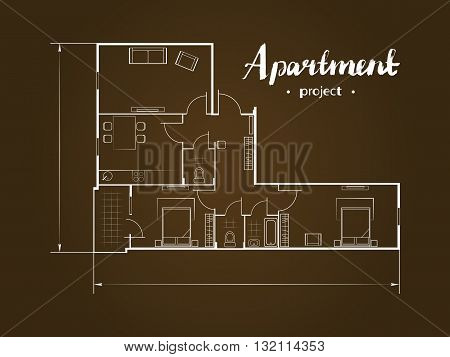 Apartment project with furniture. Kitchen, living room, two bedroom and balcony. Handwritten inscription. Vector illustration of top view