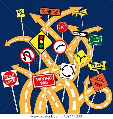 Tangled roads with confusing signs, EPS8 vector illustration