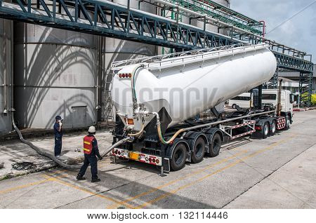 Truck Tanker Chemical Delivery in Petrochemical Plant