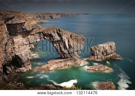 The Green Bridge of Wales, one of the UK's sea arches, one of the most spectacular sites on the Pembrokeshire Coast near Castlemartin.