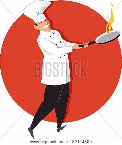 Asian chef with a flaming skillet, vector illustration