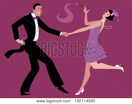 Young couple dressed in 1920s fashion dancing the Charleston, vector cartoon