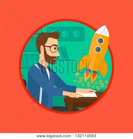A hipster businessman sitting at the table and looking at a business start up rocket taking off. Business start up concept. Vector flat design illustration in the circle isolated on background.