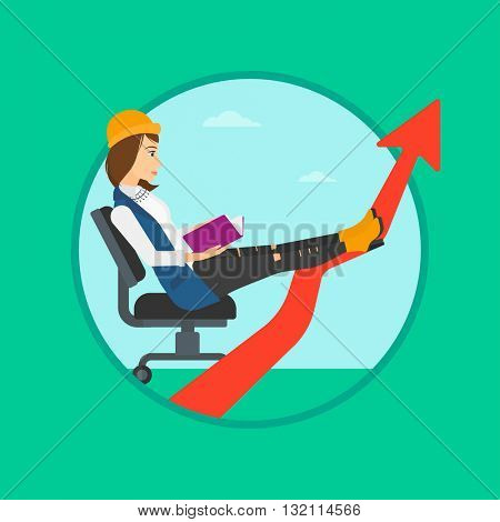 A business woman sitting in a chair and reading a book while her legs lay on an uprising arrow. Business study concept. Business vector flat design illustration in the circle isolated on background.