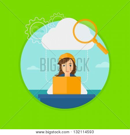 A business woman working on a laptop and cloud, magnifier and gears above her. Cloud computing concept. Vector flat design illustration in the circle isolated on background.