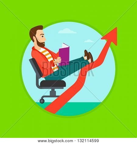 A hipster businessman sitting in a chair and reading a book while his legs lay on an uprising arrow. Business study concept. Vector flat design illustration in the circle isolated on background.