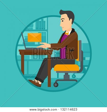 A businessman working on his laptop in office and receiving or sending email. Business technology, email concept. Business vector flat design illustration in the circle isolated on background.