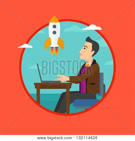 A businessman sitting at the table and looking at a flying rocket. Businessman working on a laptop. Business start up concept. Vector flat design illustration in the circle isolated on background.